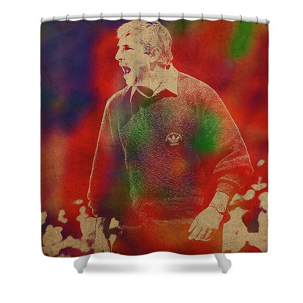 Coach Bobby Knight Watercolor Portrait Shower Curtain