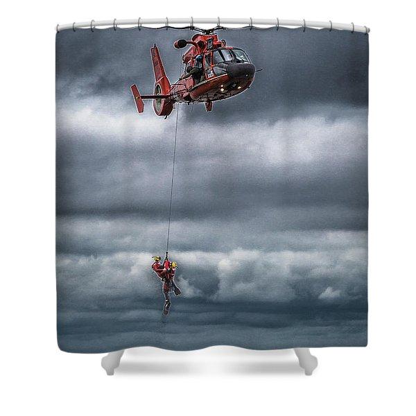 Coast Guard Rescue Operation  Shower Curtain