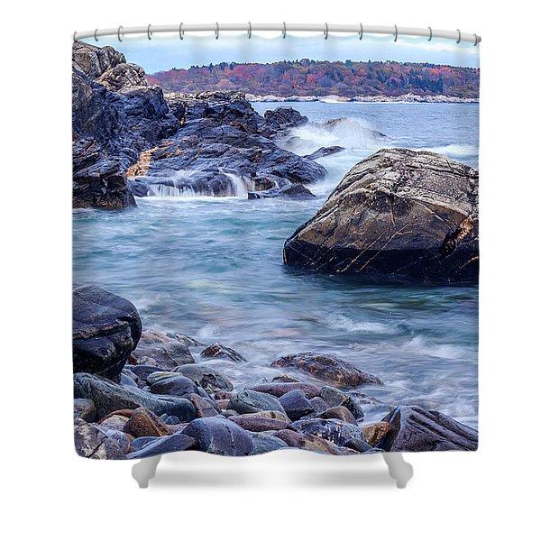 Coast Of Maine In Autumn Shower Curtain