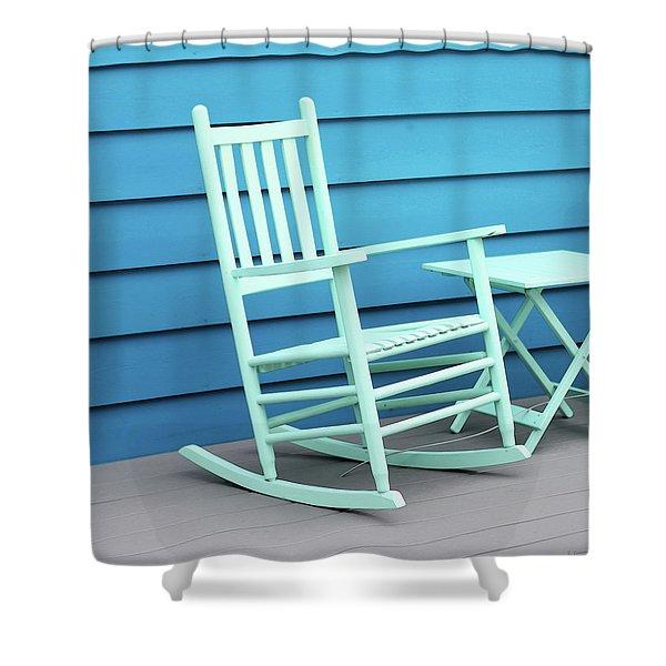 Coastal Beach Art - Blue Rocking Chair - Sharon Cummings Shower Curtain