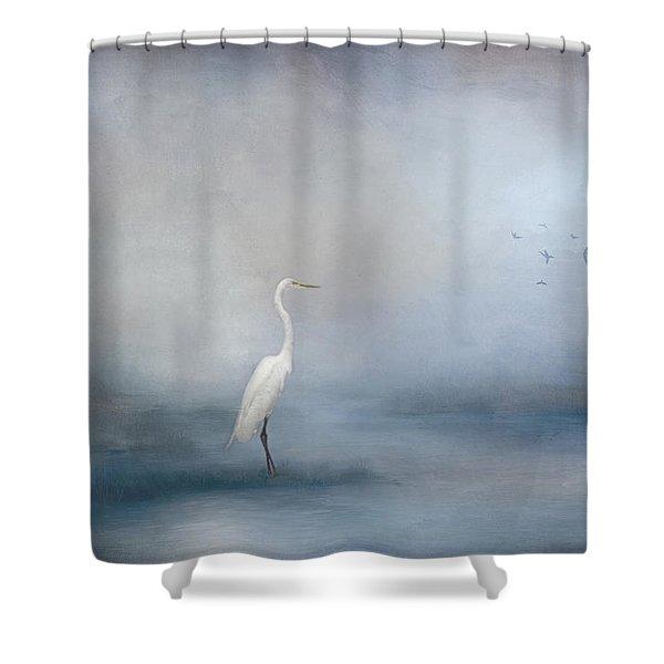 Coastal Egret Shower Curtain