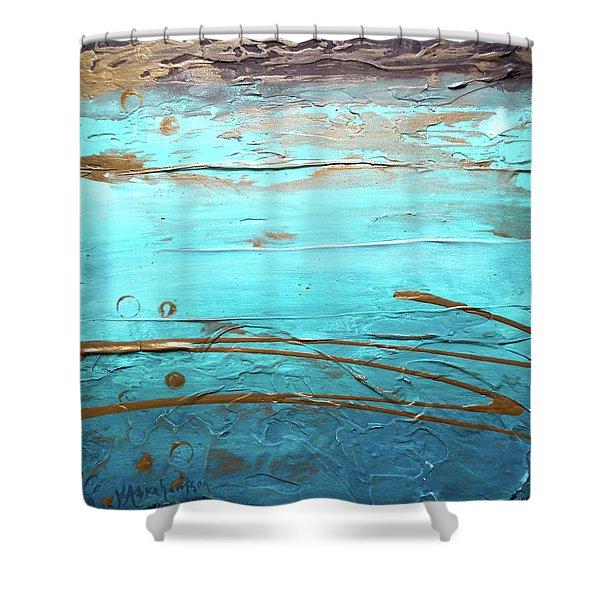 Coastal Escape I Textured Abstract Shower Curtain