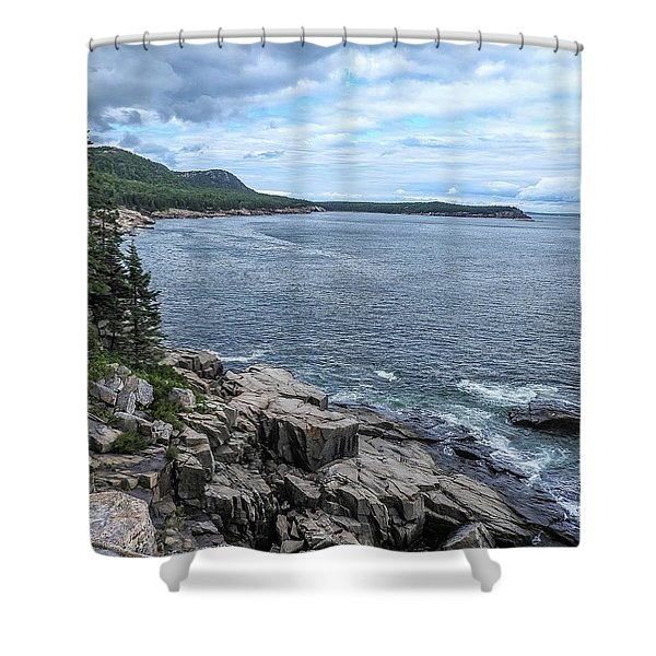Coastal Landscape From Ocean Path Trail, Acadia National Park Shower Curtain