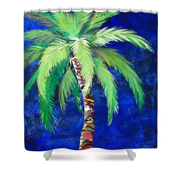 Cobalt Blue Palm II Shower Curtain