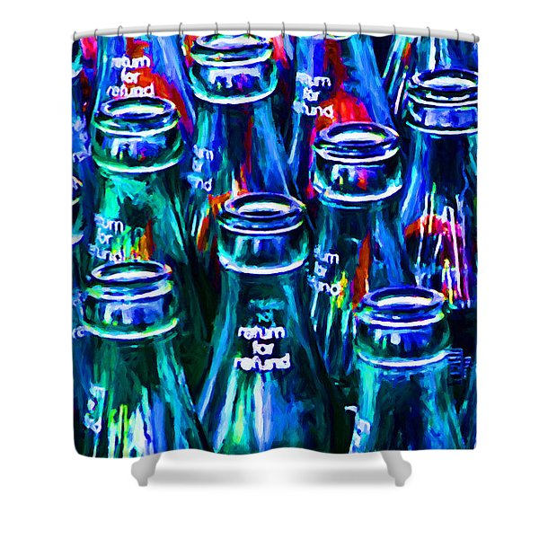 Coca-cola Coke Bottles - Return For Refund - Painterly - Blue Shower Curtain