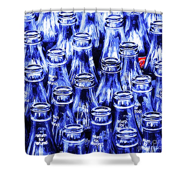 Shower Curtain featuring the photograph Coca-cola Coke Bottles - Return For Refund - Square - Painterly - Blue by Wingsdomain Art and Photography