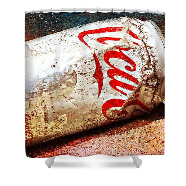 Shower Curtain featuring the photograph Coca Cola On The Rocks By Mike-hope by Michael Hope