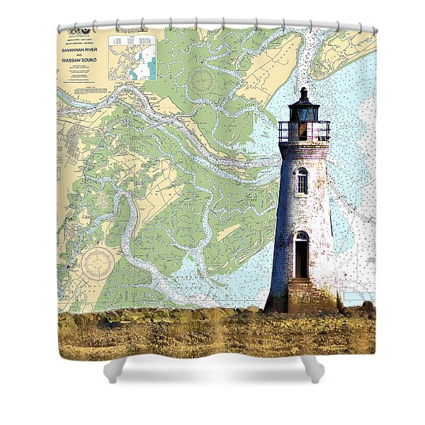 Cockspur On Navigation Chart Shower Curtain