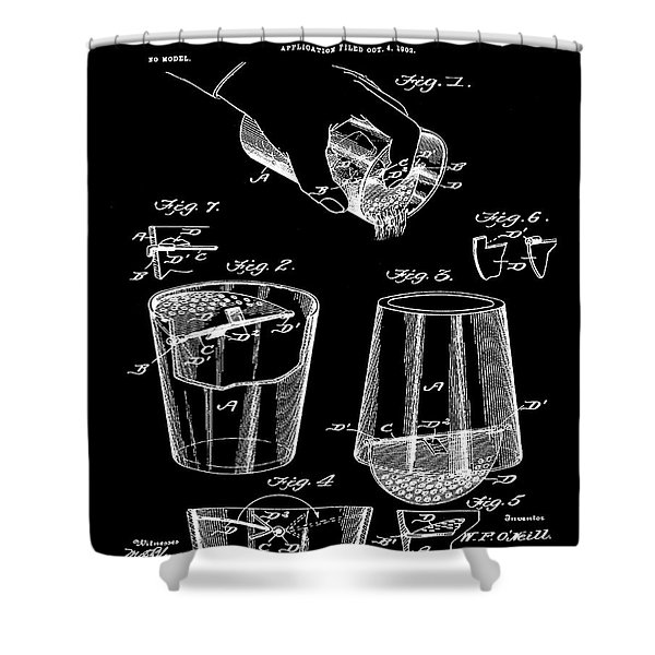Cocktail Mixer Patent 1903 In Black Shower Curtain
