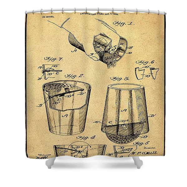 Cocktail Mixer Patent 1903 In Sepia Shower Curtain