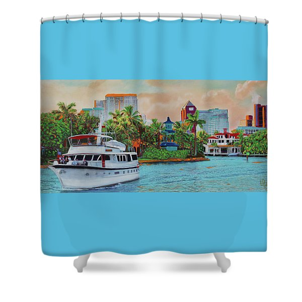 Cocktails On The New River Shower Curtain