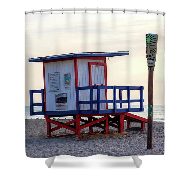 Cocoa Beach Lifeguard Tower Shower Curtain