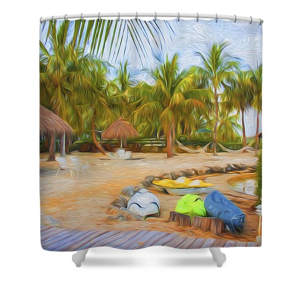 Coconut Palms Inn Beach Shower Curtain