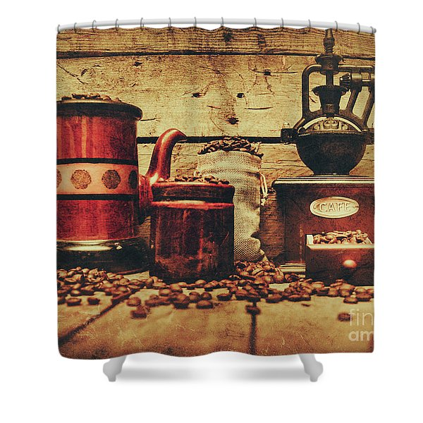 Coffee Bean Grinder Beside Old Pot Shower Curtain