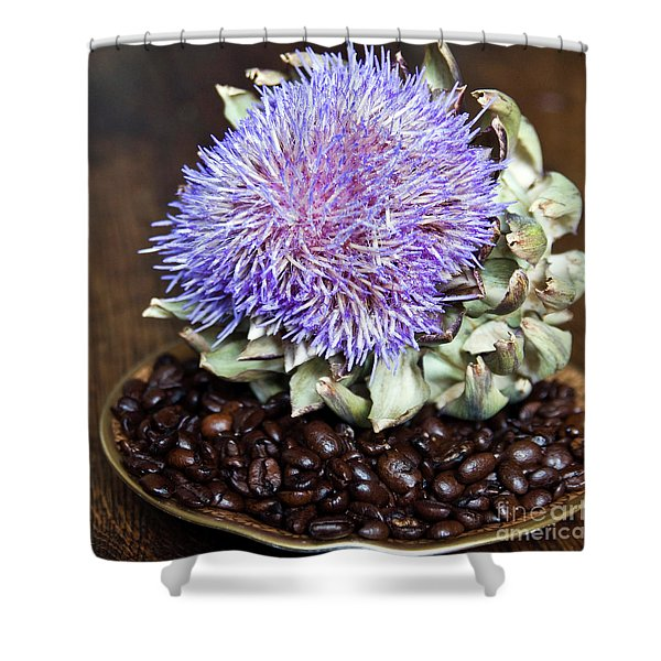 Shower Curtain featuring the photograph Coffee Beans And Blue Artichoke by Silva Wischeropp