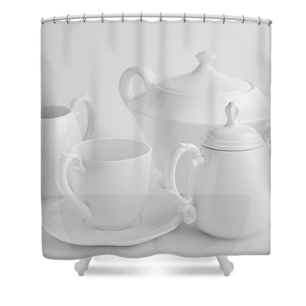 Coffee In White Shower Curtain