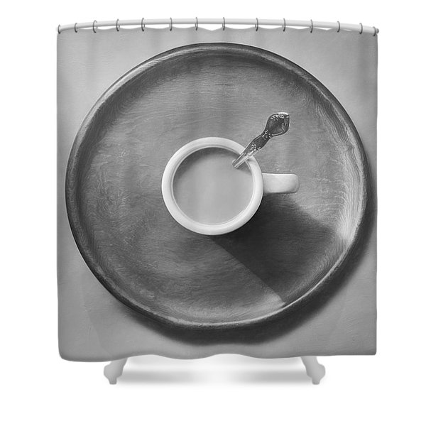 Coffee On A Wooden Tray Shower Curtain