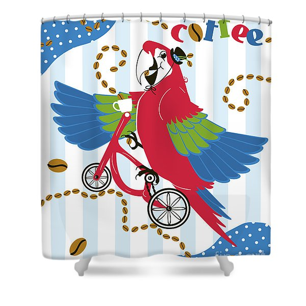 Coffee Parrot Shower Curtain