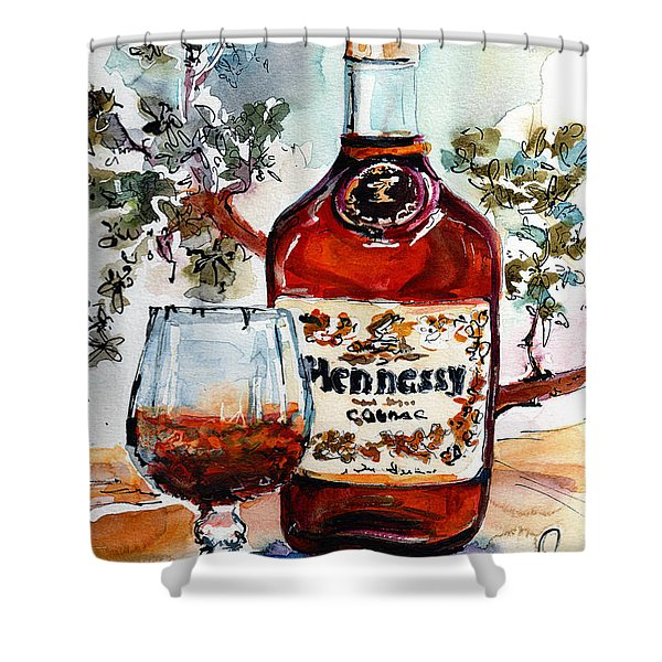 Cognac Hennessy Bottle And Glass Still Life Shower Curtain