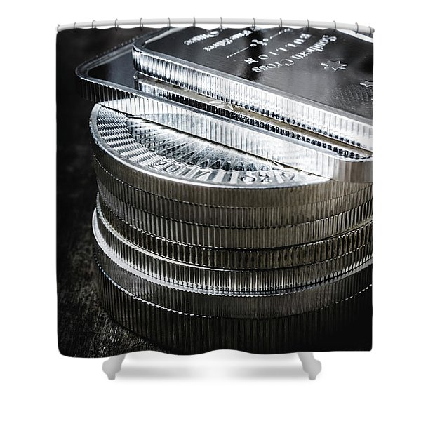 Coins Of Silver Stacking Shower Curtain