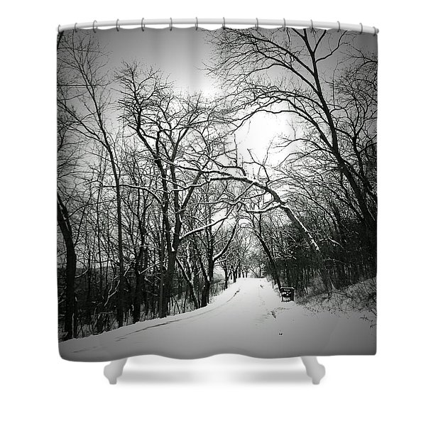 Cold Black Road Shower Curtain