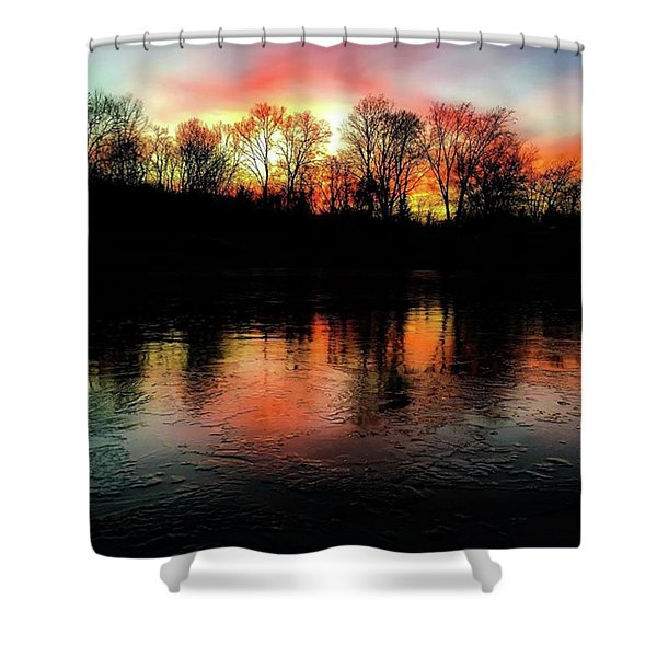 A Frozen Lake Relect The Bold Setting Sun Colors  Shower Curtain