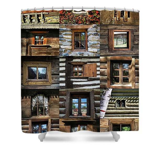 Collage From Handmade Traditional Wooden  Windows In Village Museum Bucharest Shower Curtain