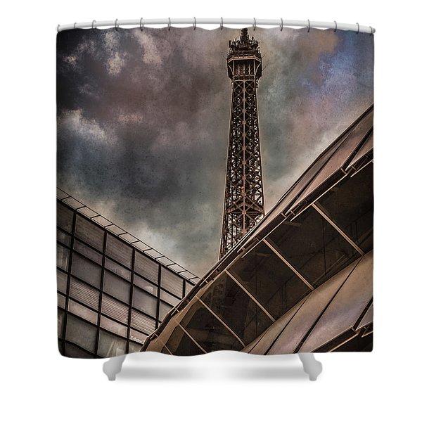 Paris, France - Colliding Grids Shower Curtain