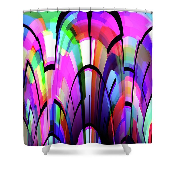 Shower Curtain featuring the digital art Color Gates by Mihaela Stancu