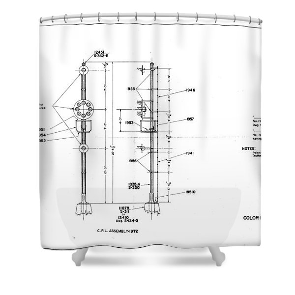 Color Position Light Ground Signals Shower Curtain