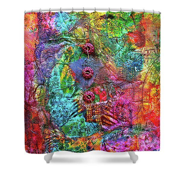 Color With Buttons Shower Curtain