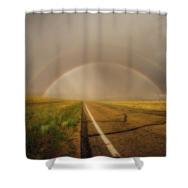 Colorado Double Rainbow Shower Curtain