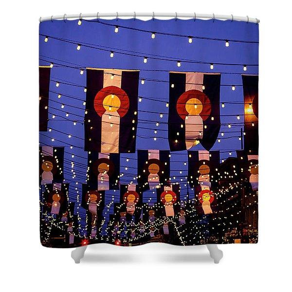 Colorado Flags On Larimer Square Denver Shower Curtain