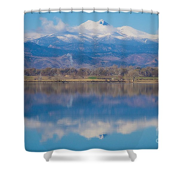 Colorado Longs Peak Circling Clouds Reflection Shower Curtain