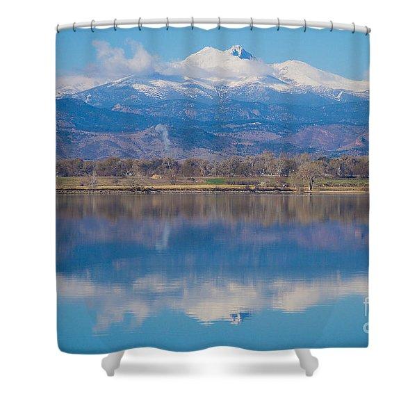 Colorado Longs Peak Circling Clouds Reflection Shower Curtain
