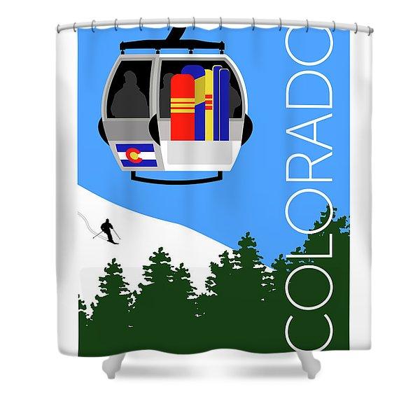 Colorado Ski Country Blue Shower Curtain