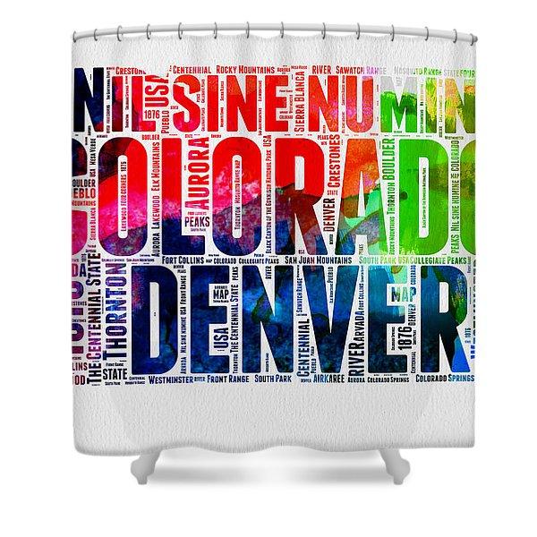 Colorado Watercolor Word Cloud Map  Shower Curtain