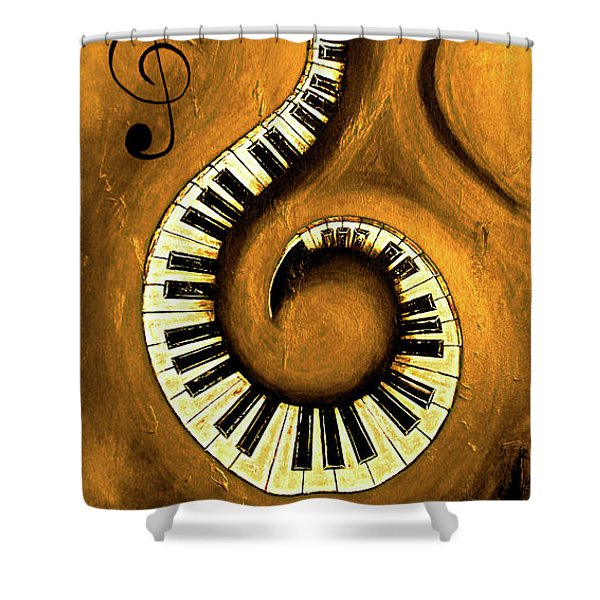 Colored 1 - Swirling Piano Keys - Music In Motion  Shower Curtain