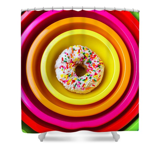Colored Bowls And Donut Shower Curtain