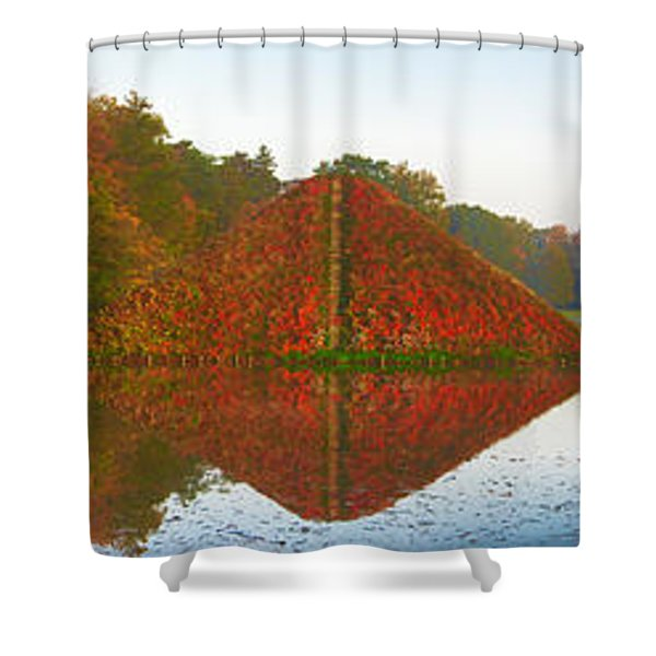 Colored Lake Pyramid Shower Curtain