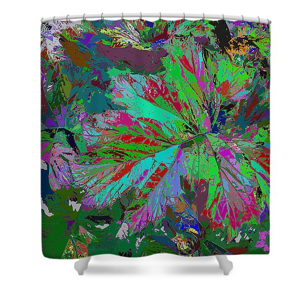 Colorfication - Leafy Colored Shower Curtain