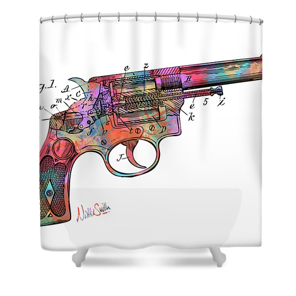 Colorful 1896 Wesson Revolver Patent Shower Curtain