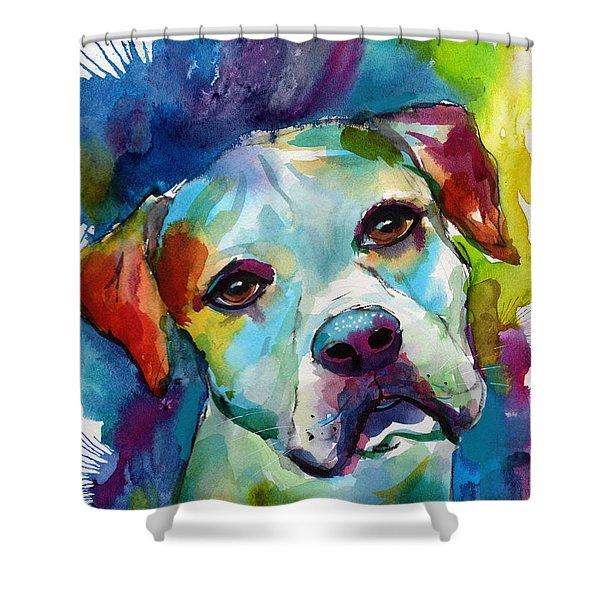 Colorful American Bulldog Dog Shower Curtain