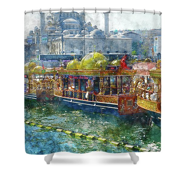 Colorful Boats In Istanbul Turkey Shower Curtain