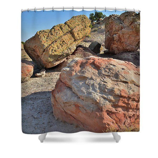 Colorful Boulders In The Bentonite Site On Little Park Road Shower Curtain