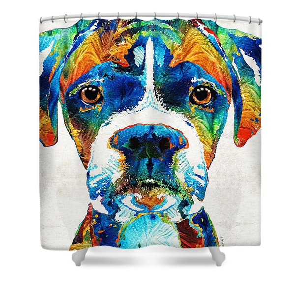 Colorful Boxer Dog Art By Sharon Cummings  Shower Curtain