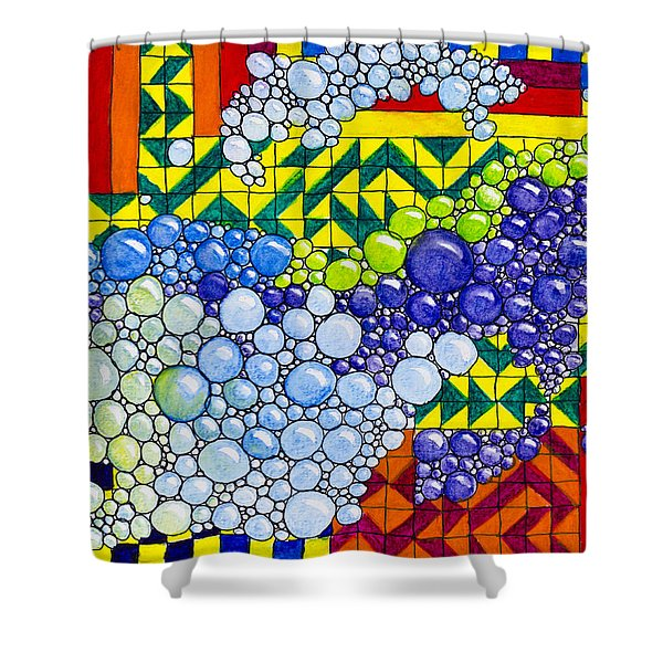 Colorful Bubbles On Tiles Shower Curtain