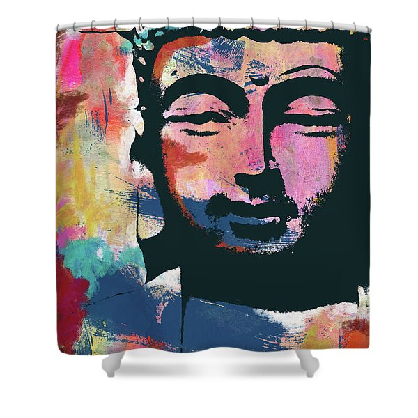 Colorful Buddha 2- Art By Linda Woods Shower Curtain