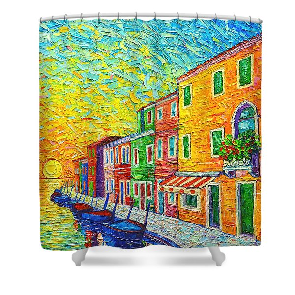 Colorful Burano Sunrise - Venice - Italy - Palette Knife Oil Painting By Ana Maria Edulescu Shower Curtain