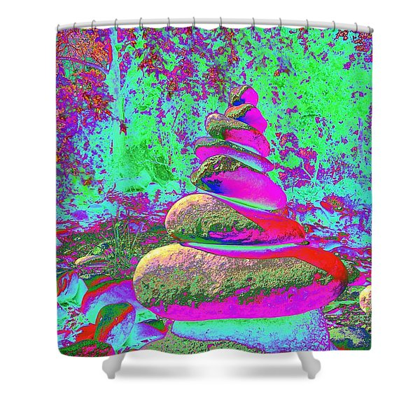 Colorful Cairn Shower Curtain
